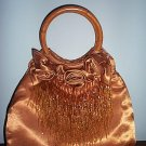 Bronze Satin Beaded Handbag Seed Bead Streamers Evening Bag