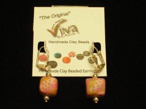 Viva Beads Earrings Raspberry Kiss Dangle Square Silverball 14mm Eco-Friendly