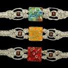 One Hemp Choker with Square Glass Bead Hippie Jewelry