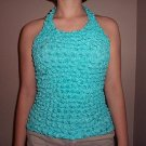 Popcorn Blouse Turquoise Blue Halter Top easy Travel no Wrinkle