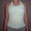 Popcorn Blouse Mint Green Halter Top No Wrinkle Shirt Great for Travel
