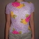 Popcorn Blouse Floral Design Top One Size Fits Most Lilac Print Shirt