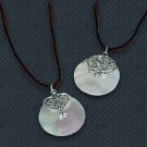 Mother-of-Pearl Pendant Leather Cord Necklace Stainless Steel Design