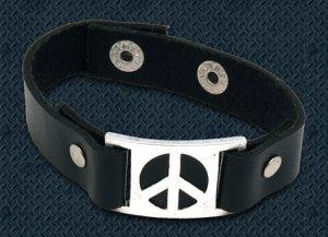 Peace Sign Bracelet  Steel Leather Cuff Adjustable Snap Hippie Unisex