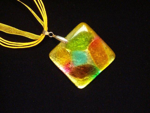 Murano Glass Pendant Necklace Ribbon Cord Lampwork Foil Colors
