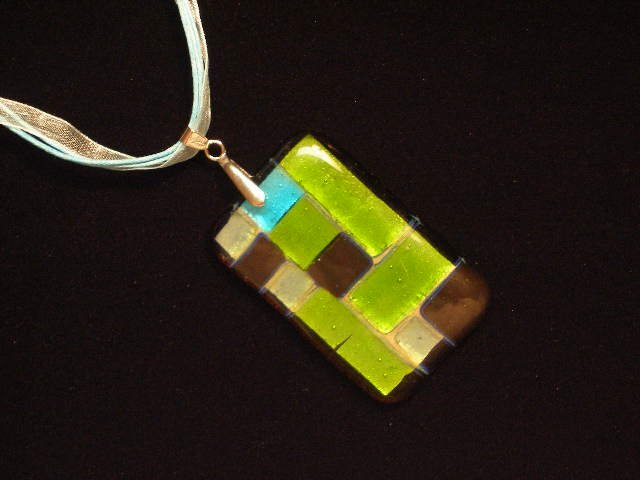Murano Glass Pendant Ribbon Cord Necklace Lampwork Foil Blue Green Black