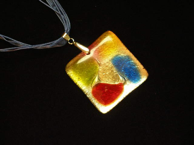 Glass Pendant Ribbon Cord Necklace Lampwork Foil Gold Red Green Blue