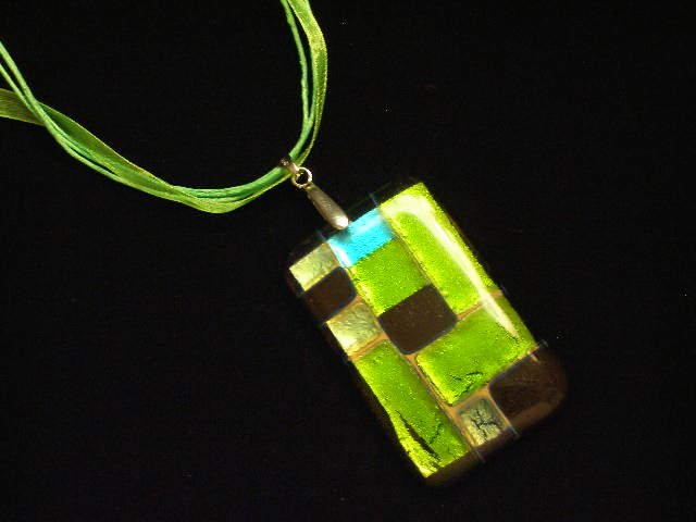 Green Glass Necklace Pendant Ribbon Cord Foil Murano Lampwork