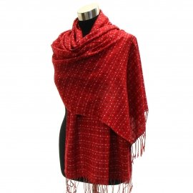 Pashmina Reversible Shawl Wrap Red Small Square Dots Scarf