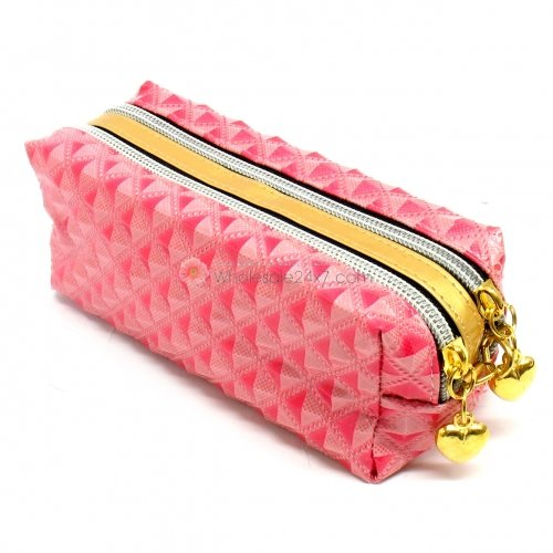 Quilted Pink Stud Pattern Double Pocket Pouch with Heart Dangle Zipper Pull
