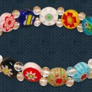 Beaded Bracelet Glass Flower Stretch Colorful Beads