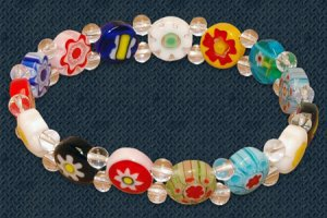 Beaded Bracelet Glass Flower Stretch Colorful Beads