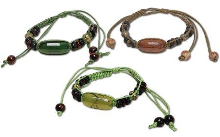Hippie Wood Stone Dark Green Beaded Leather Cord Bracelet
