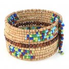 Bracelet Wide Cuff Hand Beaded Wood Cz Seed Beads Memory Wire