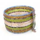 Bracelet Wide Cuff Hand Beaded Glass Cz Seed Beads Memory Wire Green Beige
