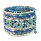 Bracelet Wide Cuff Glass Seed Beads Hand Beaded Blue Green