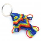 Rainbow Fish Beadwork Keychain Charm Seed Bead Key Ring