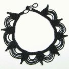 Black Choker Seed Bead Necklace Egyptian Beadwork Art Design