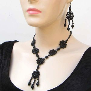 Victorian Style Seed Bead Necklace & Chandelier Earrings Black