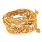 Bracelet Wide Cuff Hand Beaded Memory Wire Seed Beads Orange Gold