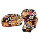 Five Piece Cosmetic Pouch Bag Set  Retro Flower Design Black