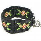 Black Flower Beadwork Cuff Bracelet Cz glass Seed Beads