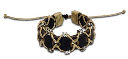 Leather Linen Armband Bracelet Hippie Style Jewelry Adjustable