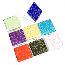 One Cosmetic Mirror Satin Fabric square lightweight Make Up Compact