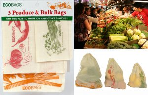 3 Eco-Friendly Produce GREEN Grocery Bags EcoBags Set