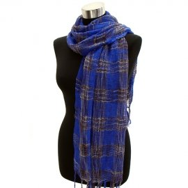 Scarf Light Weight Woven Plaid Blue Brown Shawl Wrap Cotton Blend