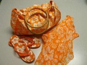 Beach Set Large Bag Sarong Flip Flops 3 Pieces Orange White Print