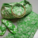 Beach Set Large Bag Sarong Flip Flops 3 Pieces Green White Print