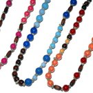 Three Opaque Beads Straw Knot Necklaces 3 Bright Colors Hippie Jewelry
