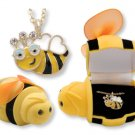 Bee Animal Critter Necklace Childs Jewelry Velour Box European Crystals