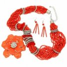 Necklace Earrings Crystal Pave Flower Multi-Strand Seed Beads Coral Set
