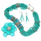 Necklace Earrings Crystal Pave Flower Multi-Strand Seed Beads Turquoise Set