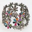 Stretch Bracelet Colorful Hematite Plated Flowers