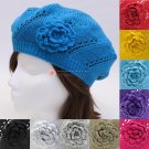 Soft Knit Flower Beret Hat Cap Newsboy Two Colors White Yellow