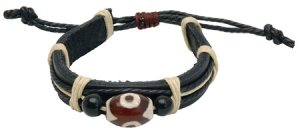 Leather Bracelet Tribal Glass DZI Bead Hippie Style Fashion Jewelry