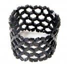 Cuff Bracelet Beaded Stretch Resine Beads Black Net Weave Light Weight