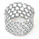 Cuff Bracelet Beaded Stretch Resine Beads Gray Net Weave Light Weight