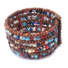 Bracelet Wide Cuff Hand Beaded Wooden & Glass Beads Memory Wire