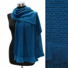 Shawl Wrap Frilled Edge Acrylic Knit Deep Teal Blue Knitted Scarf