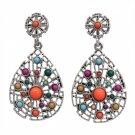Earrings Multi Colored Stone Dangle Tear Drop Antique Silver