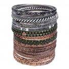 Bangle Bracelets Silver Gold Copper Plated 20 Piece Set