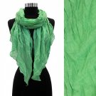 Cotton Scarf Soft Green Wrap Long Light Weight Twisted Shawl