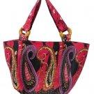 Bag Bohemian Cherry Paisley Shoulder Tote Purse Cotton