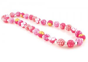 Viva Beads Simply Pink Chunky Silverball Necklace Stretch Style