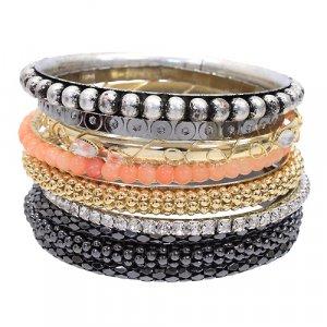 Mix & Match Bangle Lot Seven Bracelets Multi Style Set