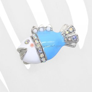 Fish Stretch Ring Turquoise White Clear Rhinestones Silver Band